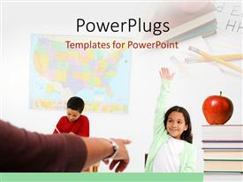 PowerPlugs: PowerPoint template with classroom depiction with teacher, students and red apple on book pile