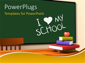 PowerPoint template displaying classroom with multicolor books and keyword i love my school on chalkboard