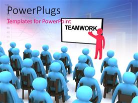 PowerPlugs: PowerPoint template with a classroom with a teacher teaching them