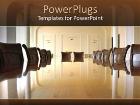 PowerPlugs: PowerPoint template with classy boardroom with brown chairs and glossy brown table