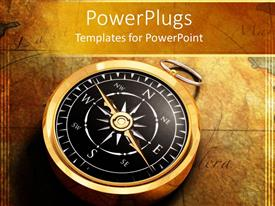 PowerPlugs: PowerPoint template with classy golden compass on ancient map