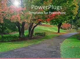 PowerPlugs: PowerPoint template with clean clear pathway in between grasses and colorful trees