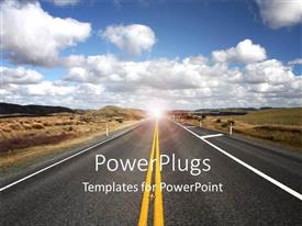 PowerPoint template displaying clean Highway withglow in distance and blue cloudy sky overhead