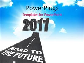 PowerPoint template displaying clean path with text ROAD TO THE FUTURE leading to blue cloudy sky