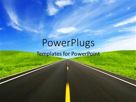 PowerPlugs: PowerPoint template with clean road between green grass land with blue cloudy sky