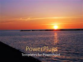 PowerPoint template displaying clear sunset showing the yellow sun and the sea