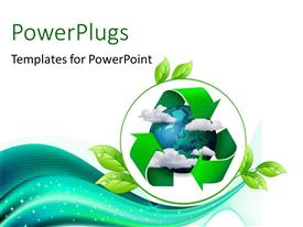 PowerPlugs: PowerPoint template with climate change concept planet earth with clouds and recycling symbol arrows