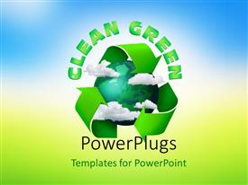 PowerPlugs: PowerPoint template with climate change concept planet earth with clouds and recycling symbol