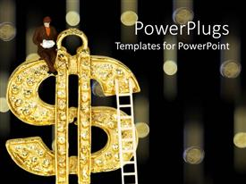PowerPoint template displaying climbing the ladder of success, figure seated on gold dollar sign with ladder