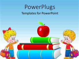 PowerPoint template displaying clip art of apple on book pile with two kids dressed for school