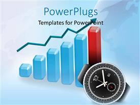 PowerPoint template displaying clock with 3D financial chart with arrow in background