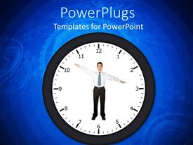 PowerPlugs: PowerPoint template with clock with business man pointing at time