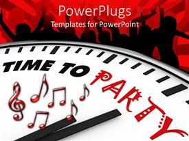 PowerPoint template displaying clock close up written time to party on the face
