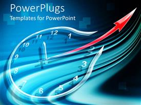 PowerPlugs: PowerPoint template with a clock in a different shape with bluish background