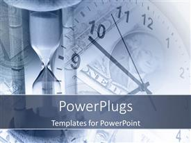 PowerPlugs: PowerPoint template with a clock with a dollar note and greyish background