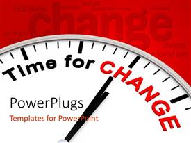 PowerPlugs: PowerPoint template with clock face with words Time For Change on red word cloud background