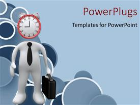 PowerPlugs: PowerPoint template with a clock with a figure and a bluish background