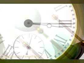 PowerPlugs: PowerPoint template with a clock with a grayish background and place for text