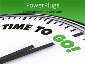 PowerPlugs: PowerPoint template with a clock with a greenish background