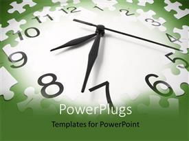 PowerPlugs: PowerPoint template with a clock with greenish background and place for text