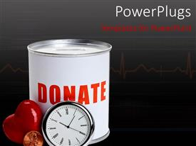 PowerPlugs: PowerPoint template with a clock and a heart with a donation box in the background