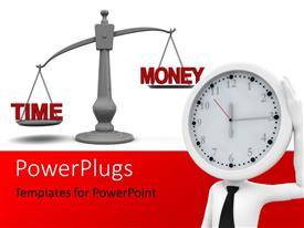 PowerPoint template displaying a clock with the justice symbol in the background