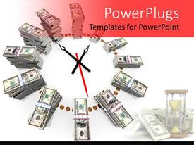 PowerPlugs: PowerPoint template with clock made with ascending stacks of dollar bills in bundles