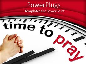 PowerPlugs: PowerPoint template with a clock mentioning the prayer timing with red background