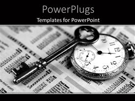 PowerPlugs: PowerPoint template with a clock with a newspaper in the background