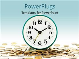PowerPlugs: PowerPoint template with a clock with a number of currency coins and bluish background