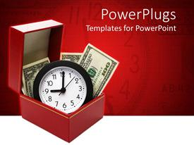 PowerPoint template displaying a clock and a number of dollars with a red background