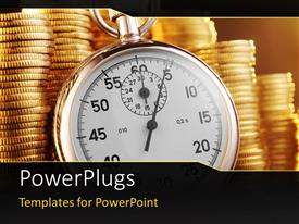 PowerPoint template displaying a clock with a number of gold coins in the background