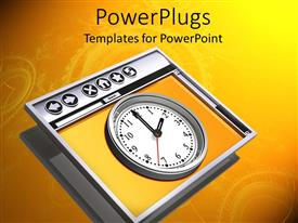 PowerPlugs: PowerPoint template with a clock with an orange background