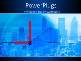 PowerPlugs: PowerPoint template with clock with red clock hands over large modern city with skyscrapers