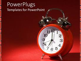 PowerPlugs: PowerPoint template with a clock with reddish background and place for text