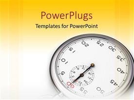 PowerPoint template displaying clock to sixty measuring seconds or minutes on gradient yellow to white background