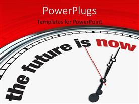 PowerPoint template displaying a clock with the words about future and reddish background