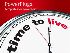 PowerPlugs: PowerPoint template with clock with words time to live on red background