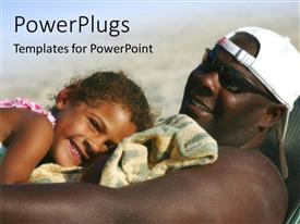 PowerPoint template displaying close-up of African American father relaxing on beach chair with daughter