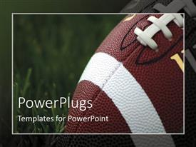PowerPlugs: PowerPoint template with close-up of American football on grass with blurred frame