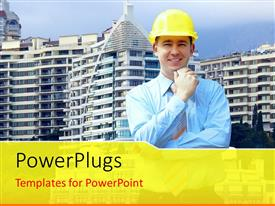 PowerPlugs: PowerPoint template with close-up of architect over huge buildings with blue sky