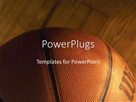 PowerPlugs: PowerPoint template with close-up of basket ball on wooden basketball court