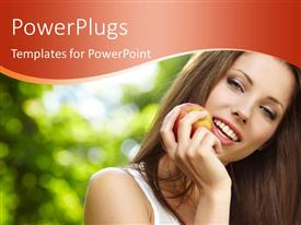 PowerPoint template displaying close-up of beatiful lady holding red apple in hand
