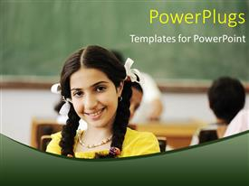 PowerPoint template displaying close-up of beautiful kid in classroom with colleagues