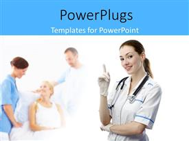 PowerPoint template displaying close-up of beautiful nurse with patient in ward being treated