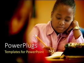 PowerPoint template displaying close-up of beautiful young girl learning in classroom