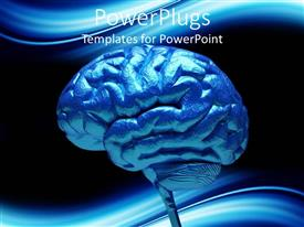 PowerPoint template displaying close-up of blue human brain