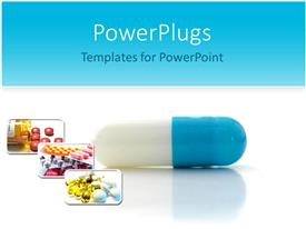 PowerPlugs: PowerPoint template with close-up of blue and white capsule with medicine pills images, medication, pharmaceuticals, health