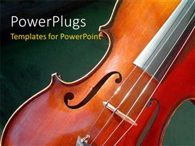 PowerPlugs: PowerPoint template with close-up of classic violin on green colored surface