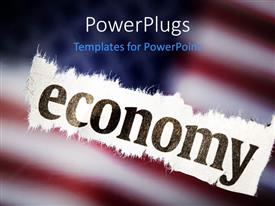 PowerPoint template displaying close-up of cloth with text economy over blurred American flag